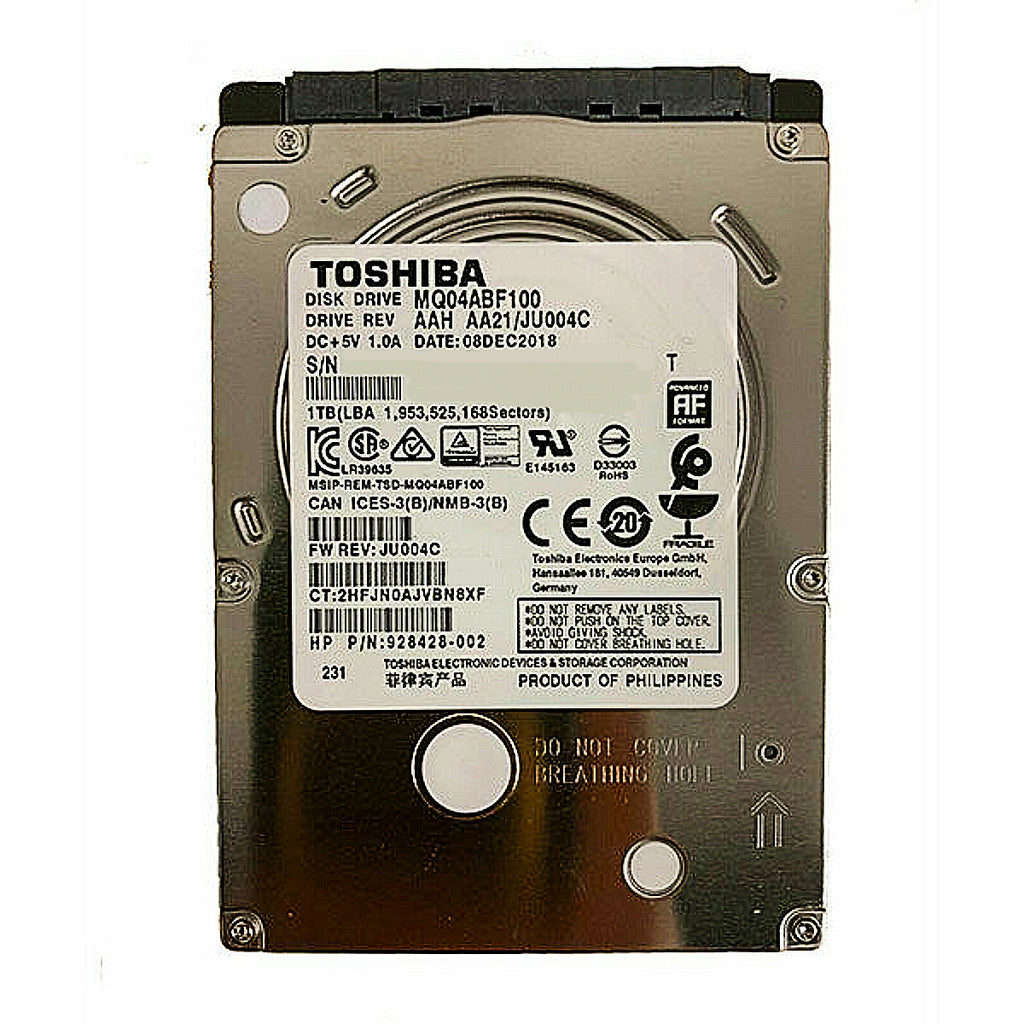 "Toshiba MQ04 Series 1TB 5400RPM 2.5"" Internal Hard Drive - SATA 6.0Gb/s 128MB Cache - (MQ04ABF100) New"