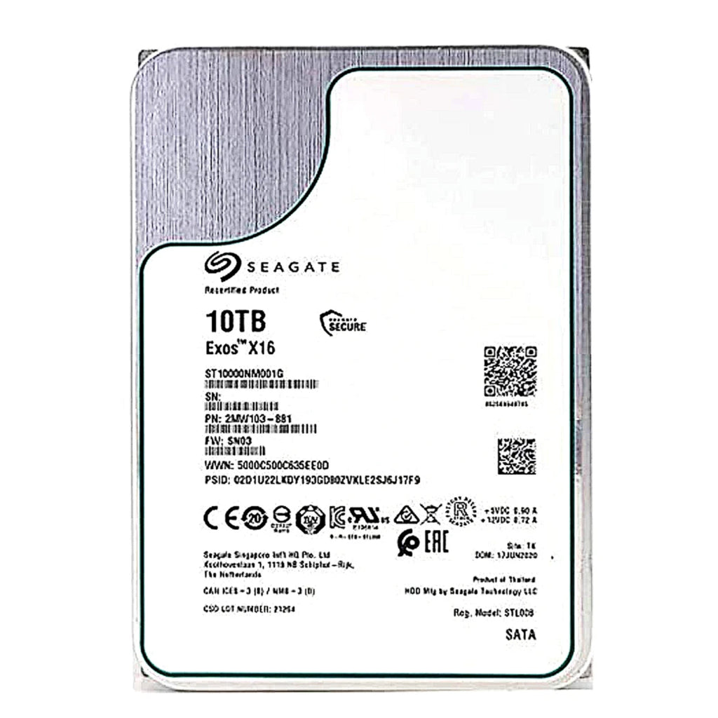 "Seagate Exos X16 10TB 7200 RPM 3.5"" Internal Hard Drive - SATA 6.0 Gb/s 256MB Cache - (ST10000NM001G) Manufacturer Recertified"