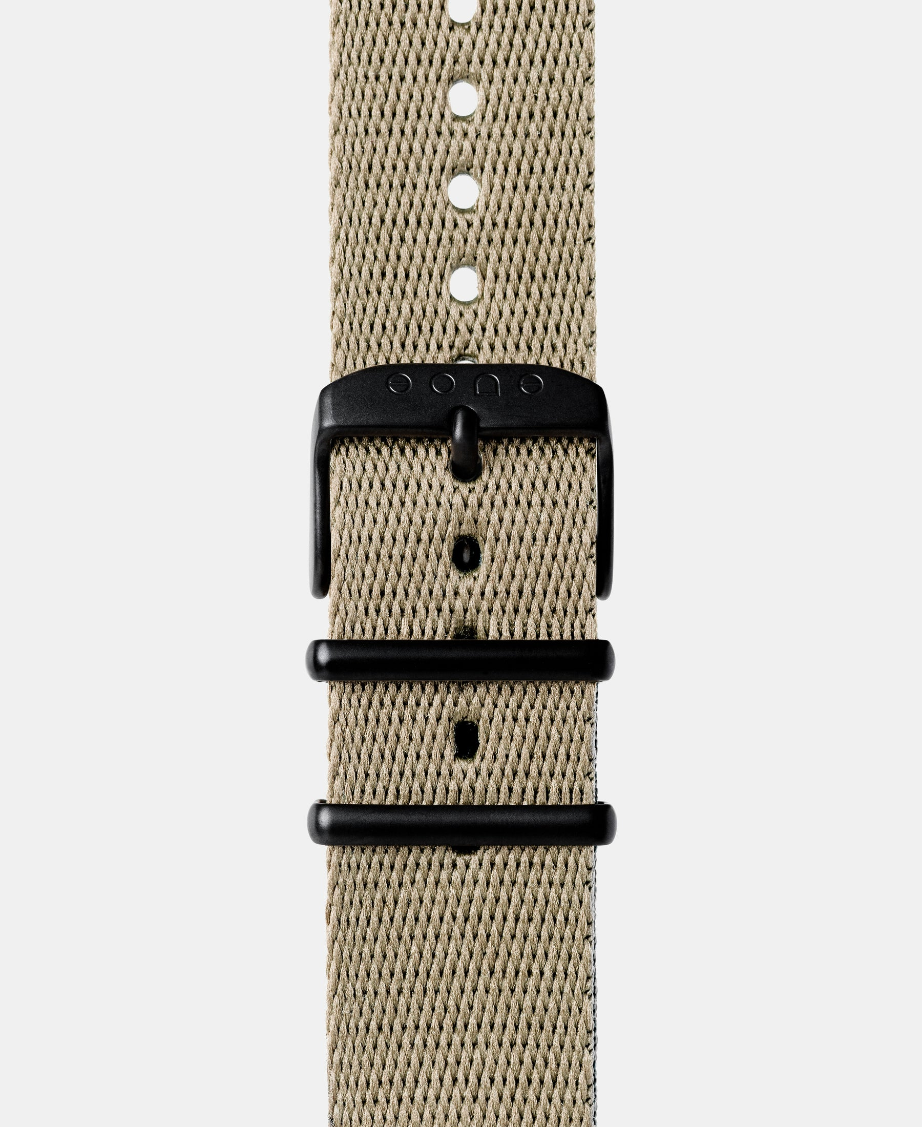 Load image into Gallery viewer, A photo shows the strap lying on a flat surface. One part has a buckle and the other part has a series of holes for an adjustable fit.