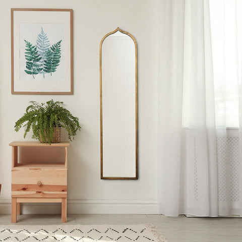 Jewel Arched Black and Gold Wall Mirror 47 Inch