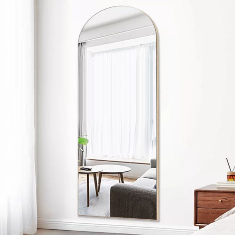 Laury Metal Rectangle Standing Arched Floor Mirror 59x22 Inch