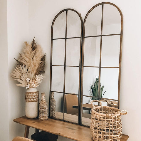 Pike window Pane Black and Gold Arch Decorative Wall Mirror
