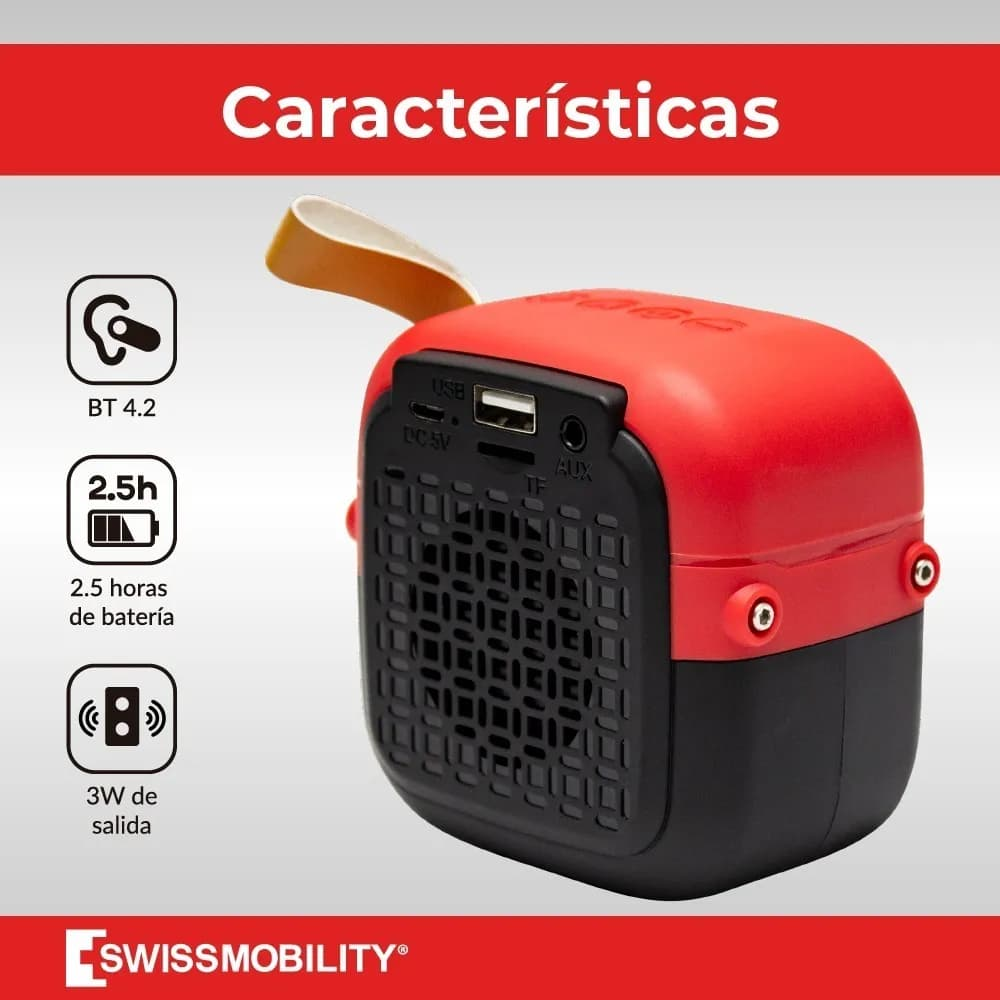 Kit 2 Bocinas Swissmobility Bluetooth Mini, Audio En Estereo