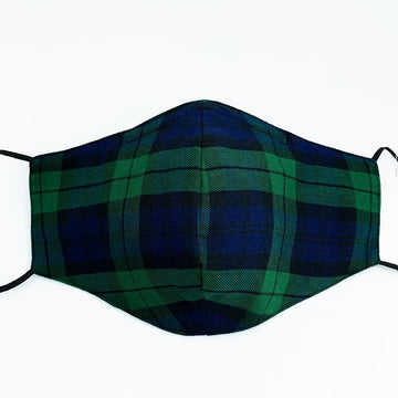 Plaid Green and Blue Face Mask