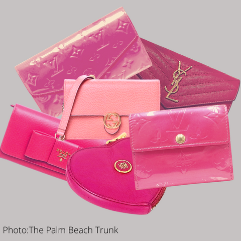 Collection of Pink Designer Wallets by Louis Vuitton Gucci YSL Prada and Loewe sold preloved by The Palm Beach Trunk