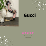 Gucci T Strap Black and Gold Heels Sold by the Palm Beach Trunk