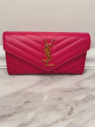 Yves Saint Laurent Grain de Poudre Matelasse Chevron Monogram Flap Wallet in Bubblegum the-palm-beach-trunk.