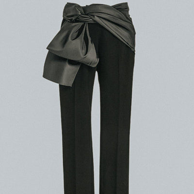 Carolina Herrera Crepe and Satin Tuxedo Trouser-The Palm Beach Trunk Designer Resale and Luxury Consignment