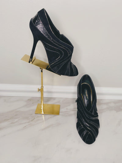 Dolce & Gabbana Suede and Snake Skin Ankle Bootie with Peeptoe-The Palm Beach Trunk Designer Resale and Luxury Consignment