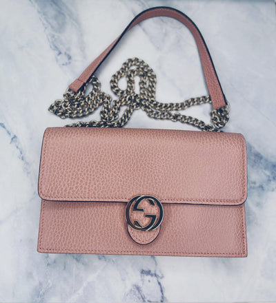 Gucci Dollar Calfskin Interlocking G Chain Wallet (WOC) in Soft Pink-The Palm Beach Trunk Designer Resale and Luxury Consignment