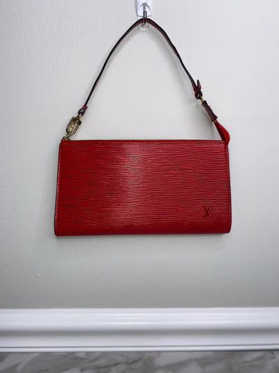 Louis Vuitton Castilian Red Epi Leather Pochette-The Palm Beach Trunk Designer Resale and Luxury Consignment
