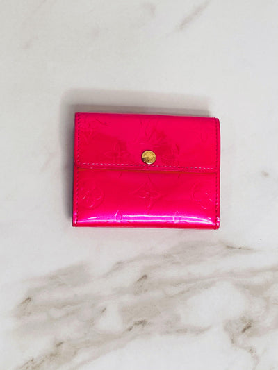 Louis Vuitton Fuchsia Vernis Patent Leather Card Wallet-The Palm Beach Trunk Designer Resale and Luxury Consignment