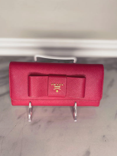 Prada Saffiano Leather Bow Wallet-The Palm Beach Trunk Designer Resale and Luxury Consignment