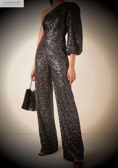 Saloni Asymmetrical Sequin Jumpsuit-The Palm Beach Trunk Designer Resale and Luxury Consignment