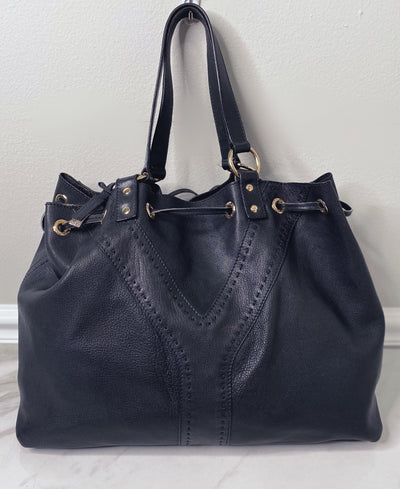 Yves Saint Laurent YSL Black Drawstring Leather Hobo Bag-The Palm Beach Trunk Designer Resale and Luxury Consignment