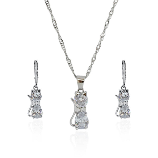 Kitty Jewelry Set – Silver