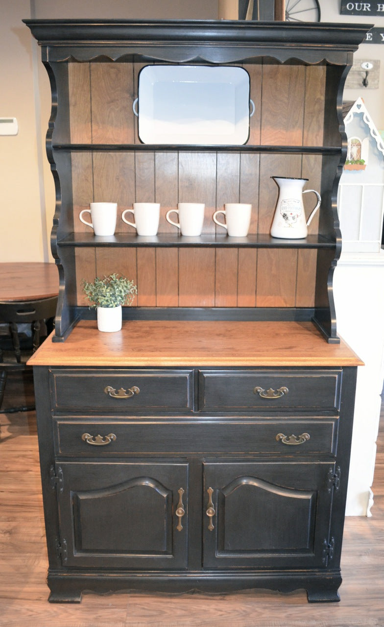 Picture of: Black Farmhouse Vintage Hutch Buffet The Workshop