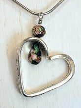 Load image into Gallery viewer, Black Floral Silverware Heart Necklace
