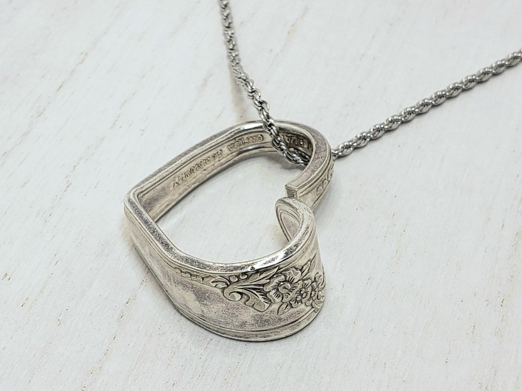 Silverware Floating Heart Necklace
