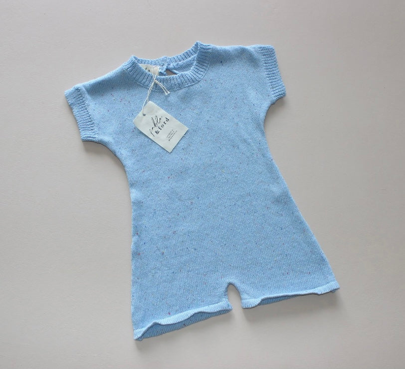 Sprinkle Knit Onesie - Sky Blue