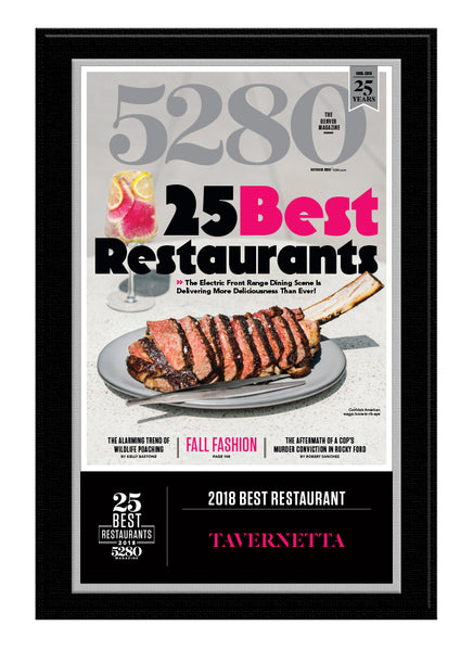 2018 Best Restaurants Plaque