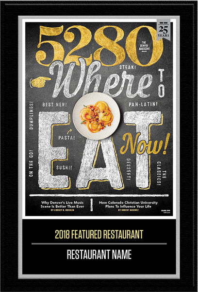 2018 Where to Eat Now Plaque