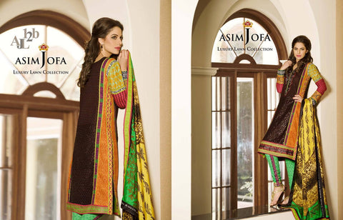 Asim Jofa Luxury Lawn suit AJL-12B -   - 1