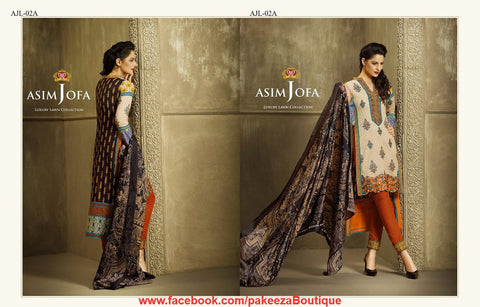 Asim Jofa Luxury Lawn 2016 suit AJL-02A - Beige Colour - Stunning Embroideries