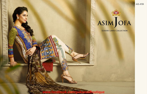 Asim Jofa Luxury Lawn 2016 suit AJL-03B - Blue Colour - Premium Lawn - Embroidered