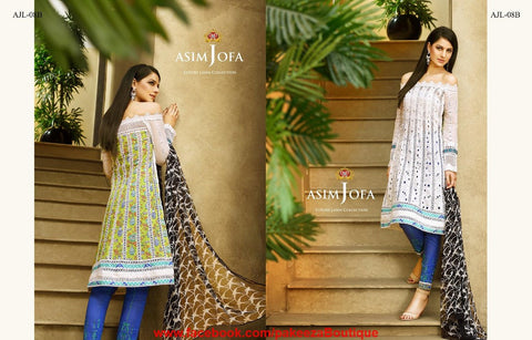 Asim Jofa Luxury Lawn 2016 suit AJL-08B - White Colour - Premium Lawn material