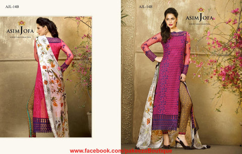 Asim Jofa Luxury Lawn 2016 suit AJL-14B - Pink Colour Theme - Lawn fabric - Embroidered kameez with printed salwar