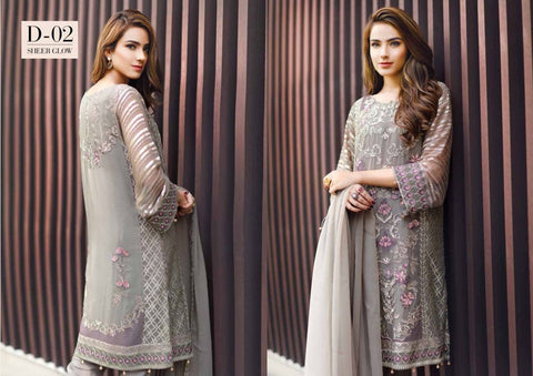 Baroque Chantelle Vol-1 2016 suit D#02 - Grey Colour - Embroidered chiffon kameez with chiffon dupatta