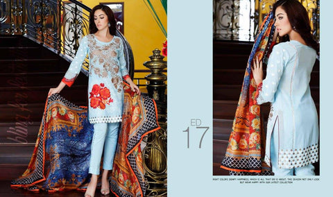Charizma Eid 2016 suit ED-17 - Swiss Voile material - Blue Colour - Embroidered kameez with silk dupatta
