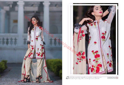 Charizma Floss Chiffon Vol-1 D#02 - Embroidered Net kameez with embroidered chiffon dupatta