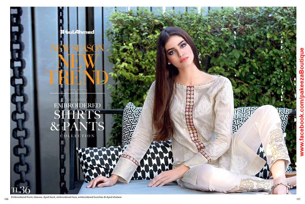 Gul Ahmed Essential Lawn 2016 suit TL-36 - Cream Colour