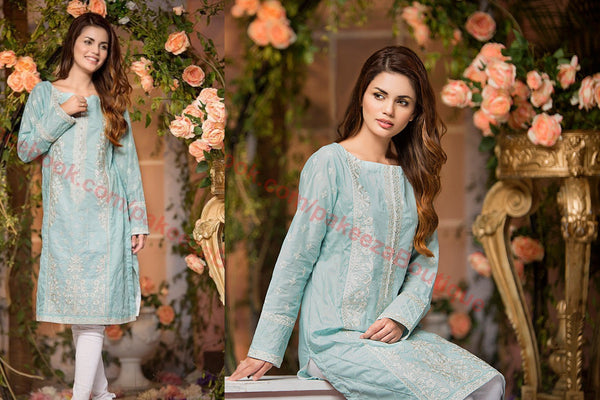 Gul Ahmed Lawn Vol-2 2016 suit SL-216 - Turquoise Colour - Lawn fabric - Embroidered kurti front, back