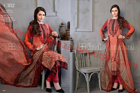 Gul Ahmed Winter 2015 suit C-382