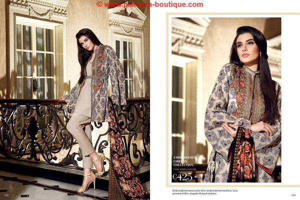 Gul Ahmed Premium Lawn 2016 suit C425 - Beige Colour