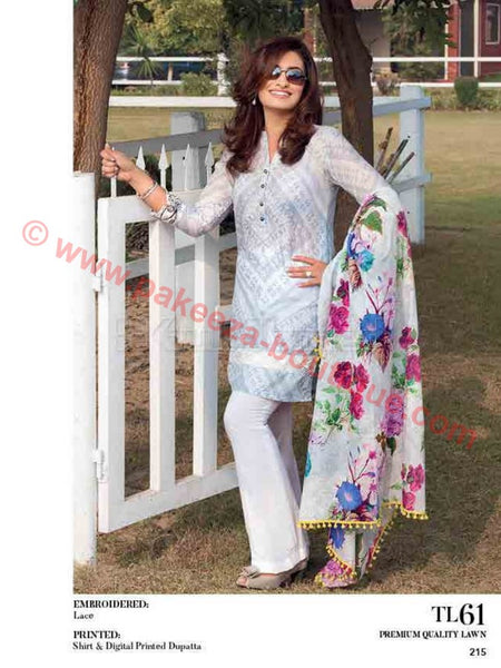 Gul Ahmed Essential Lawn 2017 suit TL-61