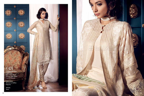 Gul Ahmed Embroidered Chiffon 2017 suit C474