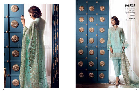 Gul Ahmed Embroidered Chiffon 2017 suit PM202