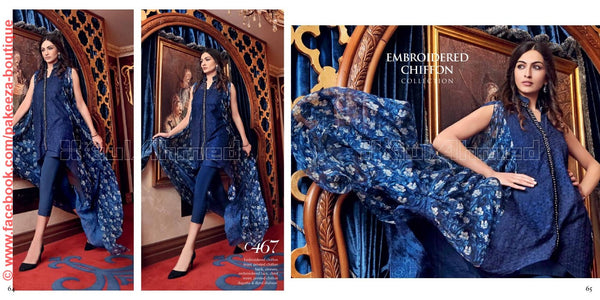 Gul Ahmed Festive 2016 suit C-467 - Blue Colour - Embroidered/printed chiffon kameez with dyed cotton salwar