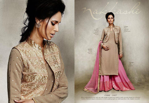Nakkashi Fall of Beauty suit 11027 - Beige Colour - Georgette/Net