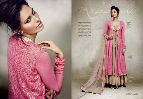 Nakkashi Fall of Beauty suit 11029 - Party Wear - Pink and Beige - Georgette/Net fabric