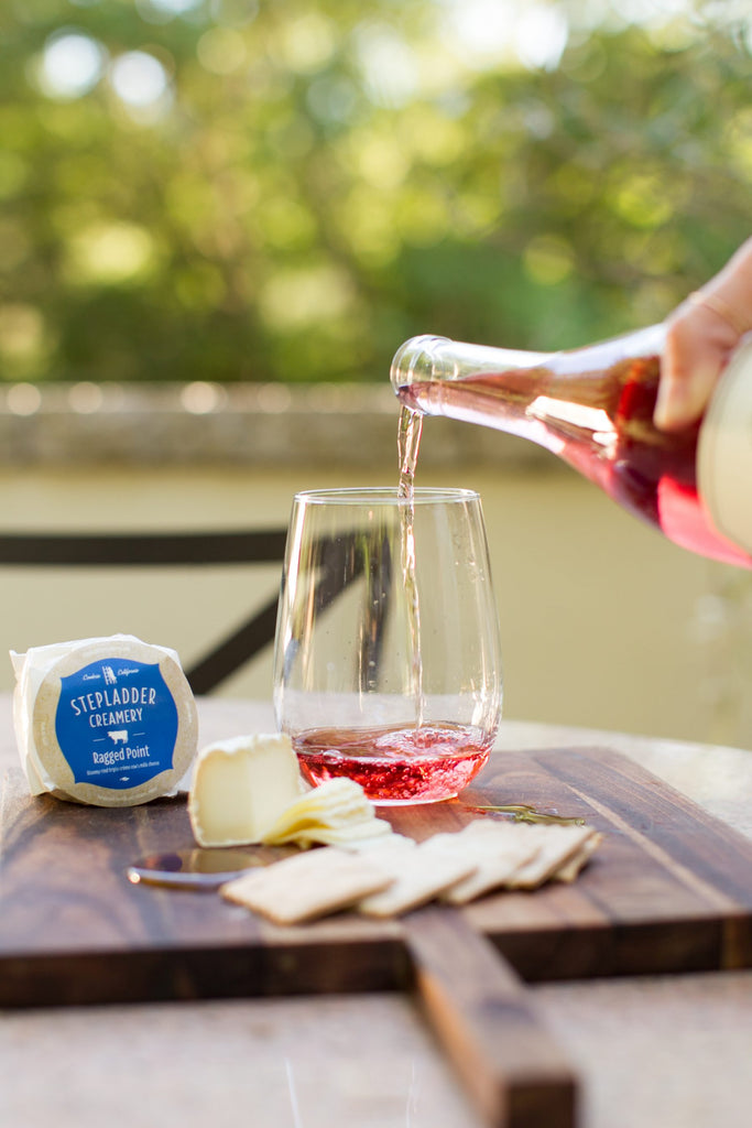 rose wine with ragged point cheese