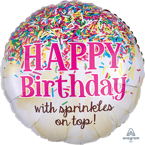 Sprinkles on Top Birthday Balloon 17""