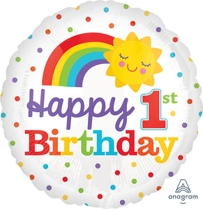 "1St Rainbow  Birthday 17"" Balloon"