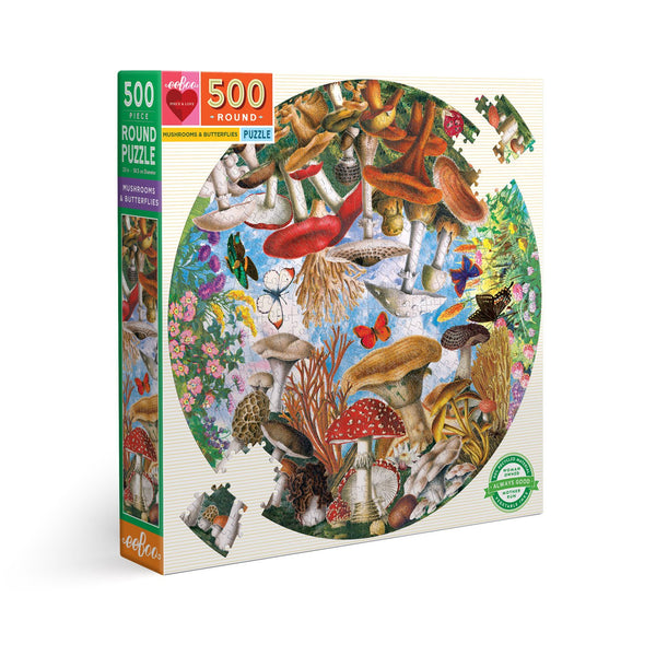 Mushrooms & Butterflies - 500pc - ROUND PUZZLE