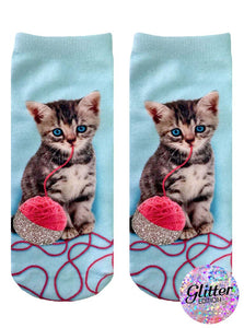Kitten and Yarn Glitter Ankle- Living Royal - One size fits most