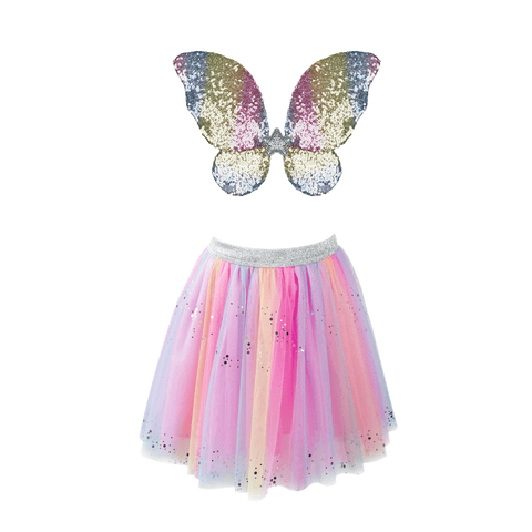 Rainbow Sequins Skirt, Wings & Wand - Size 4-6